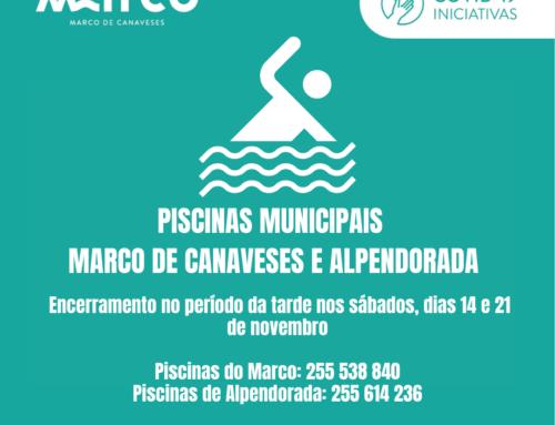 Encerramento das Piscinas Municipais nos sábados dias 14 e 21 de novembro