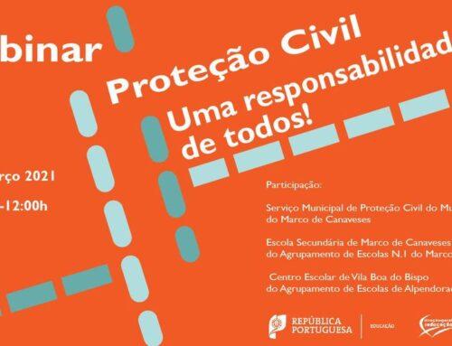 Serviço Municipal de Proteção Civil do Marco de Canaveses convidado para participar em Webinar da Direção-Geral de Educação.